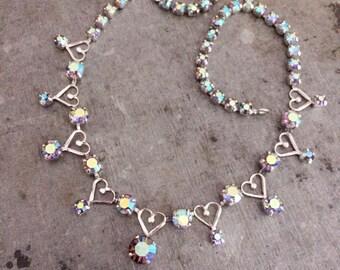 Vintage necklace, vintage diamante necklace, vintage wedding, aurora borealis necklace, heart necklace, vintage AB necklace, silver hearts
