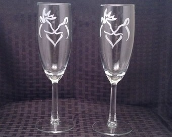 Mr & Mrs Flute Glass