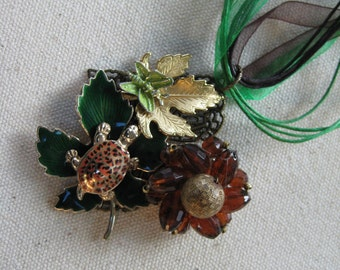 Vintage Assemblage Necklace, Fall, Autumn, Leaves, Green Leaf, Turtle, Butterfly, Vintage Earring, Repurposed Jewelry, Upcycled,Recycled /30