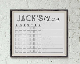 Kids Chore Chart List Personalized by Name 8 x 10 Digital Printable PDF