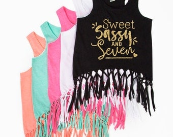Sweet Sassy and Seven - Fringe Tank Top - SEVEN - 7th Birthday - Sweet and Sassy - Birthday Girl - Girls' Tank Tops - Seven Year Old