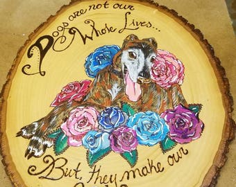 Pet Portrait: Custom pet painting wood burned wood plank - by Yarrish Arts