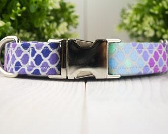Purple Mermaid Scales adjustable Dog Collar with Metal Buckle
