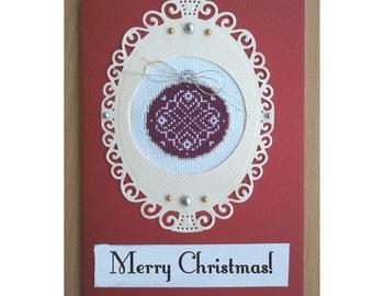 Handmade Merry Christmas Card, Cross Stitch Card, Merry Christmas Card, Merry Christmas Present Card, Greetings Card, Handmade Card