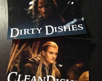 Legolas Aragorn |  Lord of the Rings Reversible Dishwasher Magnet | Geek Kitchen | Clean Dirty Magnet