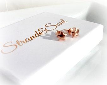 Star Stud Rose Gold Vermeil Earrings - Gift For Her