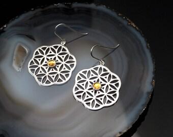 Flower of Life Earrings/ Citrine Gemstone Earrings/ Sacred Geometry Earring/ Sterling Silver Flower of Life/ November Birthstone Earrings