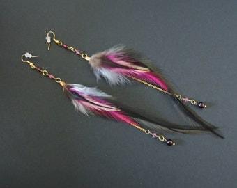 Boucles d'oreilles plumes de coq / Rooster feathers earrings