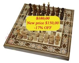 Ivory Chess Set Wooden Backgammon Set Chess board Walnut wood Chess pieces Backgammon table Chess set Backgammon set Carved wood Handmade