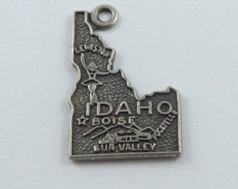Map of the State of Idaho Sterling Silver Charm or Pendent.