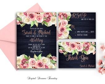 Navy Blue Wedding Invitation Printable Blush Pink Floral Wedding Invitation Romantic Wedding Spring Invitation Rustic Wedding Rose Gold