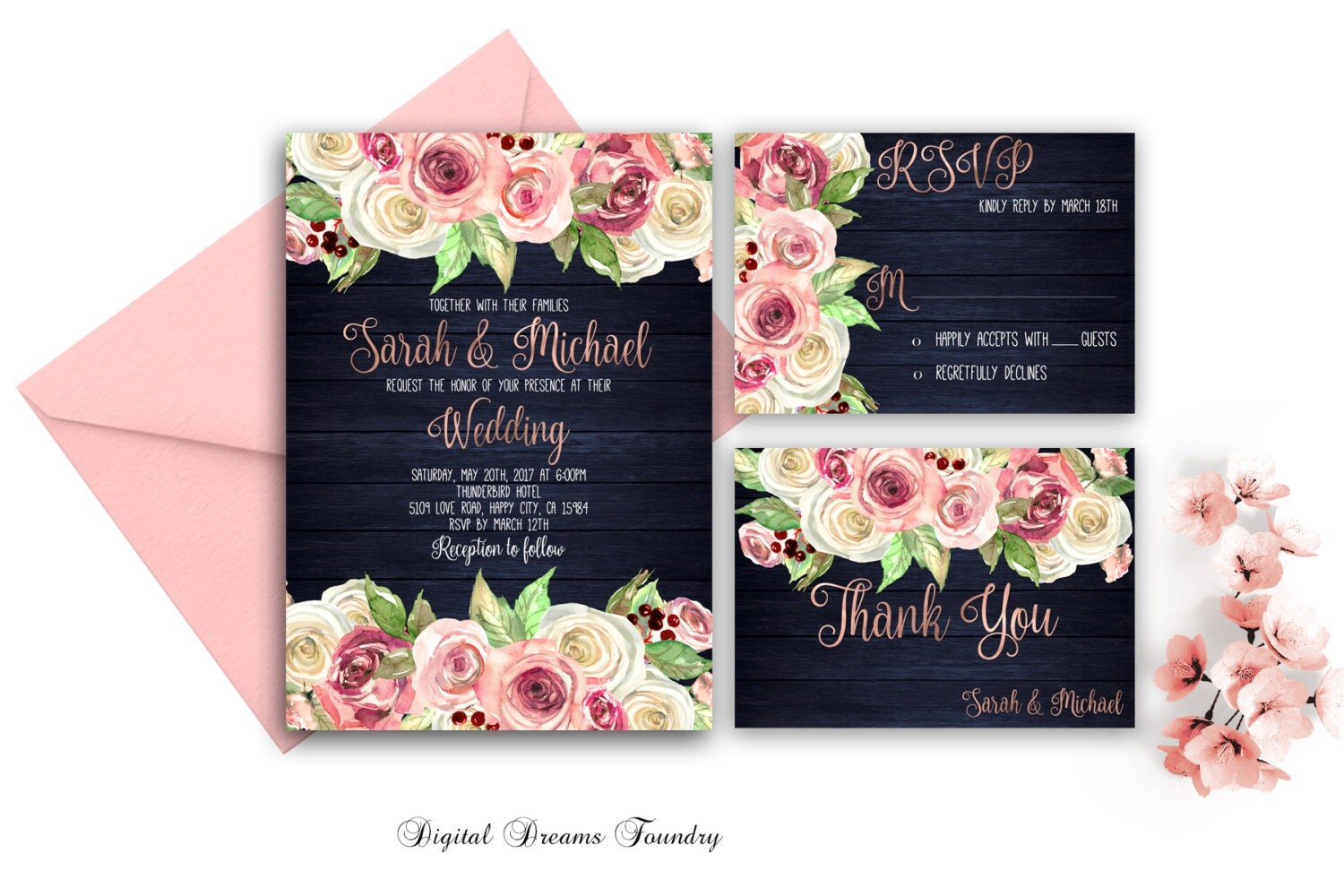 Pink navy blue gold – Navy Blue and Gold Wedding Invitations