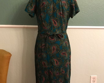 1960s Paisley Drop Waist Dress Accordion Pleats