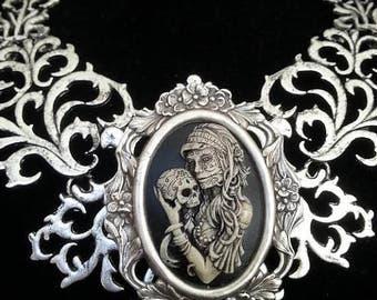 Skull Necklace   Day of the Dead Necklace   Victorian Necklace   Sugar Skull Jewelry   Sugar Skull Necklace - Dawn Santucci - Popskullpture