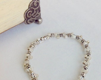 Silver and glass bead bracelet. But one or two or three and combine them. Gift for her