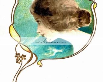 Printable Art Instant Download - Art Nouveau Profile Portrait Woman Lady Blue Vintage Antique Art - Paper Crafts Scrapbook Altered Art