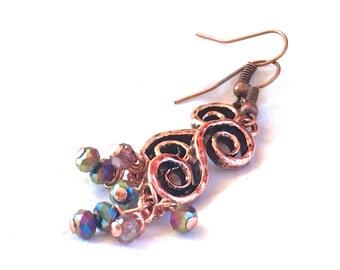 Copper & Crystal Earrings, spiral dangle earrings lavender drop earrings purple boho jewelry Czech crystal long earrings Christmas wedding