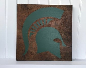 Spartan Sign - Wood Sign, Hand Painted, Hand Stained, Sports Team, Home Decor