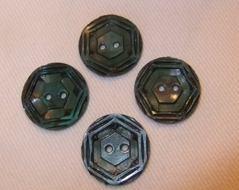 Set of 4 Carved Celluloid Wafer Buttons, Dark Green and Black