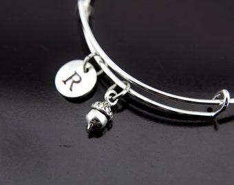 Silver Acorn Charm Bangle Bracelet, Acorn Charm, Acorn Pendant, Personalized Bracelet, Initial Bangle, Customized Jewelry