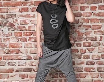 Asymmetric Pants/ Black Drop Crotch Pants/ Black Pants/ Extravagant Pants/ Low Crotch Pants/ Loose Pants/ Running Pants/ Casual Pants