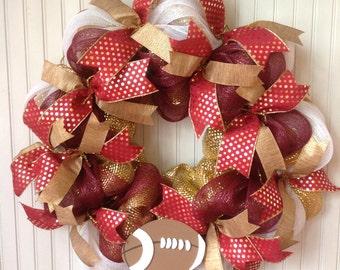 Maroon and gold football wreath, deco mesh football wreath, deco mesh sports wreath, college wreath, team wreath, sports decor, football