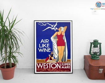 Weston Super Mare Poster -  Vintage Travel Poster - Digitally restored  print / art / poster