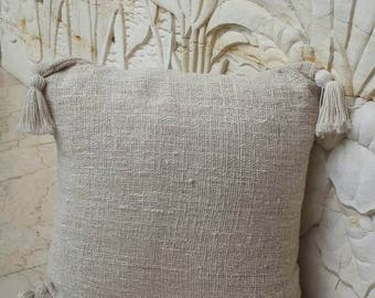 Cotton texture pillows with pom pom details, Natural pom pom pillows, cream pillows 50cm x 50cm
