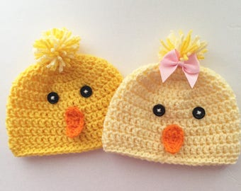 Newborn Chick hat, Newborn Bird Hat, newborn Halloween Costume, Easter Chick Hat, Newborn Photo Prop, twins, sizes to Adult