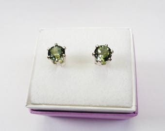 6mm. Natural Tourmaline Silver Stud Earrings. 1.6ct. total gem weight.