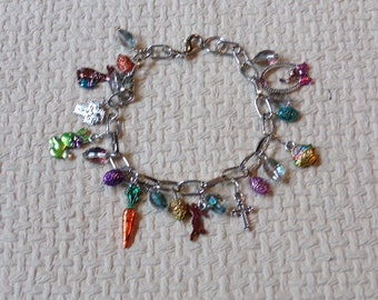 Adorable Easter Charm Bracelet with Hand painted  Charms and Crystals