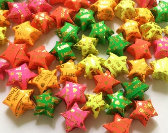 Origami Lucky Stars | Handmade Paper Stars | Pastel Foil Letters Wishing Star Folded | Thanksgiving Christmas Decoration Confetti ST06