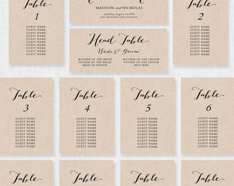 Wedding Seating Chart Template - Printable Seating Chart - Editable Table Plan - YOU edit in WORD - Rustic Seating Chart - Calligraphy style