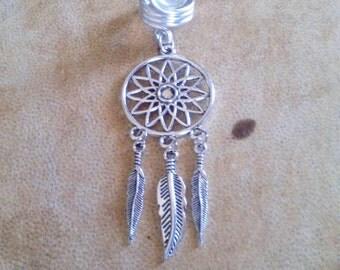 Dream catcher dreadlock bead. Silver wire dreamcatcher dread bead. 12mm dread bead.