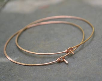 "Large copper hoops, 18 gauge copper hoop earrings, hammered copper hoops, 2""1/2 copper hoops, 2 inches 1/2 hoop earrings, simple hoops"