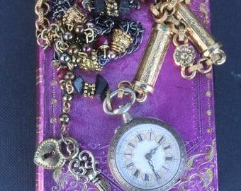 Vintage Assemblage, Pocket watch necklace, Antique pocket watch necklace, Antique assemblage, ooak necklace, Statement necklace, Exclusive,