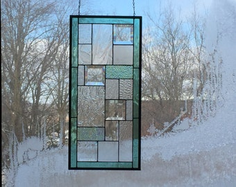 Rectangular Stained Glass Abstract Panel with Seafoam Green Border