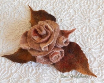 Felted Brooch READY TO SHIP Felt flower brooch Felted rose  Fashion Accessories Art Brooch Handmade Brooch Felt Jewelry Gift for woman