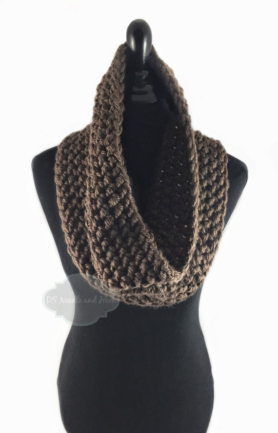 Brown Crochet Scarf, Crochet Cowl, Dark Brown Infinity Scarf, Chocolate Brown Neck Warmer, Handmade Crochet Scarf, Snood Scarf