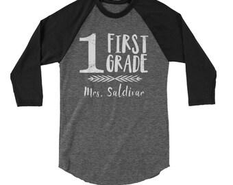 "First Grade ""Arrow Love"" Customizable Teacher Tshirt | 3/4 Sleeve Raglan | Grade Level & Elementary | School Spirit"