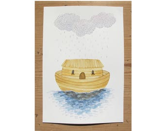 House Boat and Rain Clouds -Original Illustration - Nursery - Kids Room