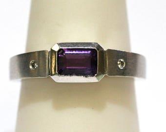 Amethyst Emerald Cut Ring w/ Diamonds in 18k White Gold