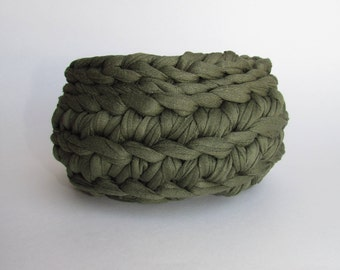 Knitted Bowl Green Basket #5