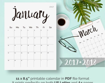 Printable Calendar 2017 - 2018, Desk Calendar PDF Download, Planner Calendar Pages, Black Digital Monthly Wall Calendar Printable, Letter A4