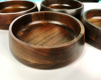 Vintage Vermillion Walnut Salad Bowls Set of 4 Grainy Wood Bowls Wooden Salad Bowls Mid Century Modern MCM Dansk Dark Wood Bowls Rustic Boho