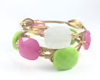 Bright Acrylic Faceted Square Wire Wrapped Bangle - Wire Jewelry - Gifts for Her - Gift Under 15 - Bracelet - Courtney And Courtnie