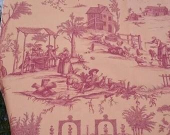 French Toile de Jouy, Vintage Heavy Cotton Remnant, Romantic Country Scenes