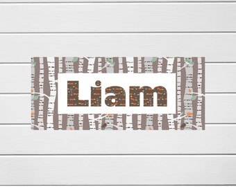 Woodland Fox Door Sign, Name Sign, Boys Bedroom, Wall Art