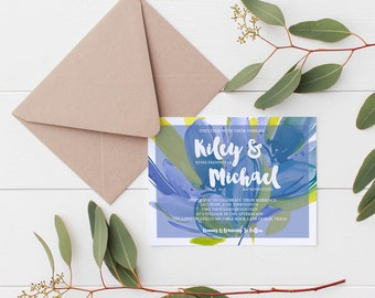 Blue and Yellow Floral Wedding Invitation Deposit