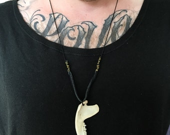 Opossum jaw bone necklace - Bone necklace - Handmade jaw bone necklace